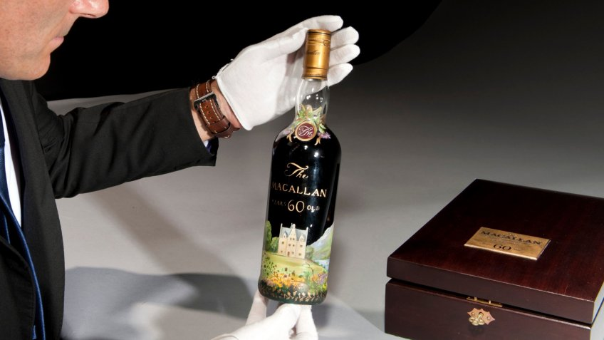 Mandatory Credit: Photo by Christies/Bournemouth News/Shutterstock (10037090c)Bottle of 1926 Macallan highland whiskyBottle of single malt whisky sells for record breaking price, London, UK - Dec 2018A bottle of 92-year-old whisky has sold for a world record price of £1.