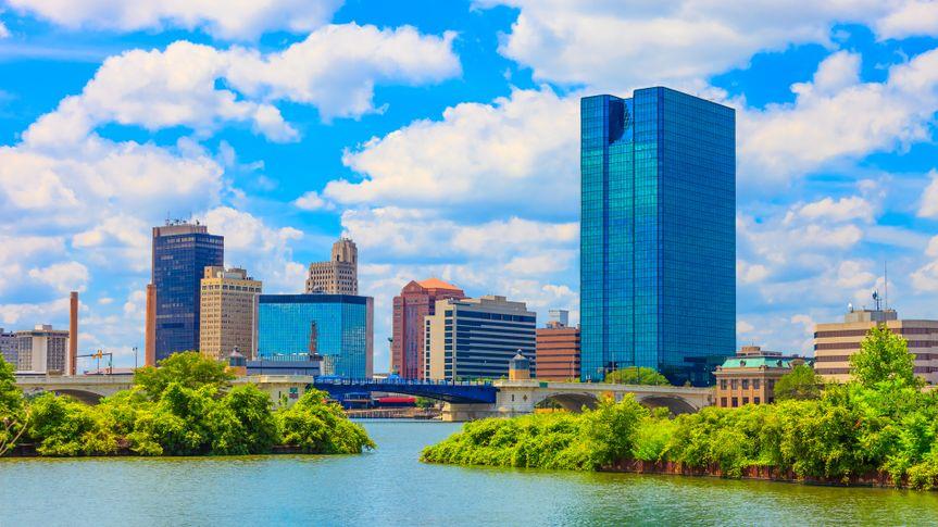 Maumee River and Toledo Ohio skyline.