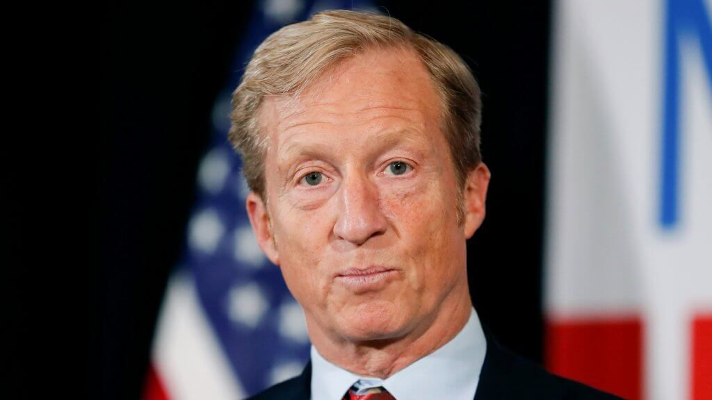 Mandatory Credit: Photo by Charlie Neibergall/AP/Shutterstock (10052758x) Billionaire investor and Democratic activist Tom Steyer speaks during a news conference where he announced his decision not to seek the 2020 Democratic presidential nomination, at the Statehouse in Des Moines, Iowa Election 2020 Tom Steyer, Des Moines, USA - 09 Jan 2019.