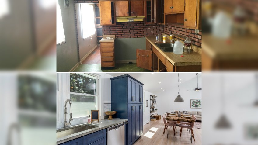 home flip before and after interior kitchen renovation