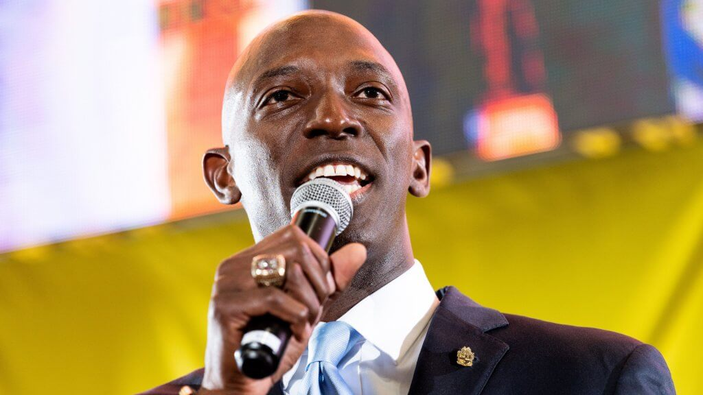 Mandatory Credit: Photo by Michael Brochstein/SOPA Images/Shutterstock (10314300v) Mayor of Miramar, Wayne Messam (D) speaking at the Poor People's Moral Action Congress Poor People's Moral Action Congress, Trinity Washington University, Washington DC, USA - 17 Jun 2019.
