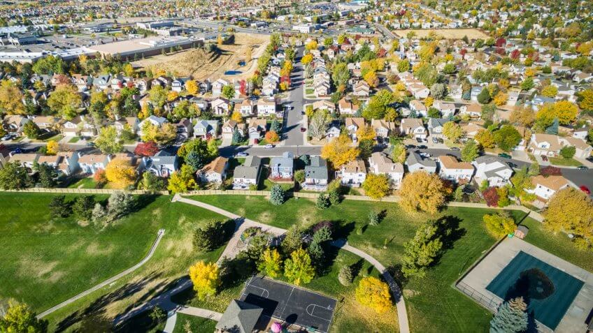 Aerial view of residential neighborhood in the Autumn.