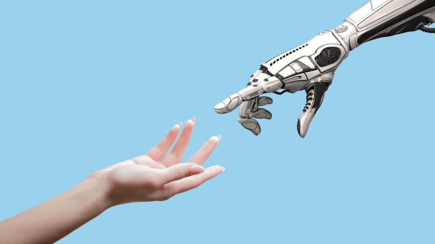 artificial intelligence robat with hand concept