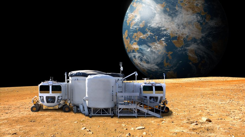 base station on the moon and Earth