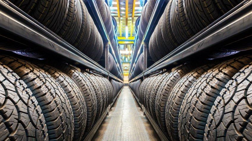 Car tires at warehouse.