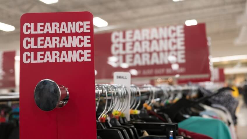 clearance aisle in store