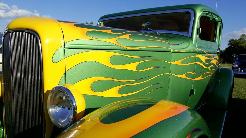 A wild flame paint job on a custom American Hot Rod automobile.