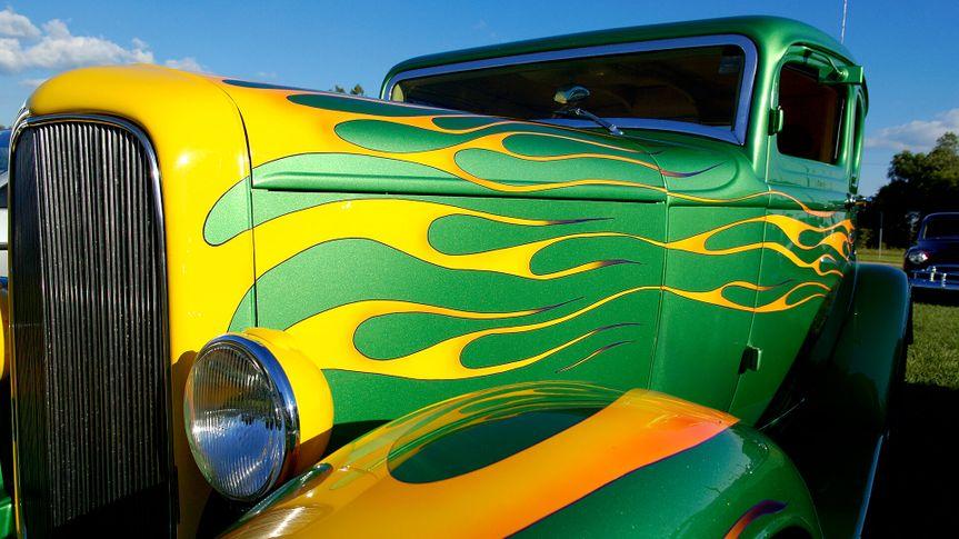 A wild flame paint job on a custom American Hot Rod automobile.