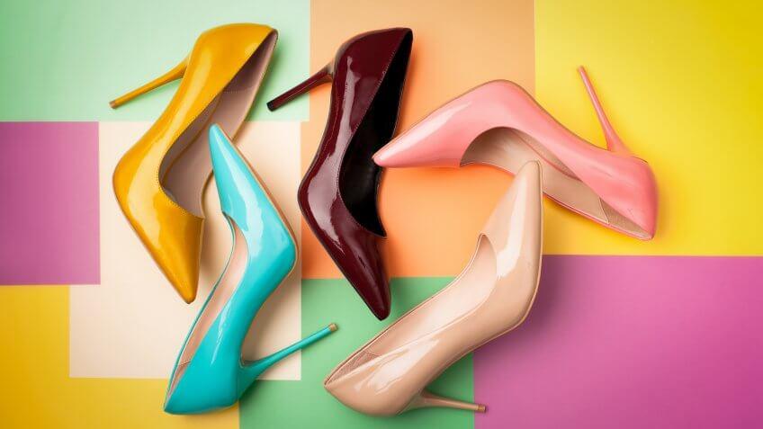 designer shoes on colorful background