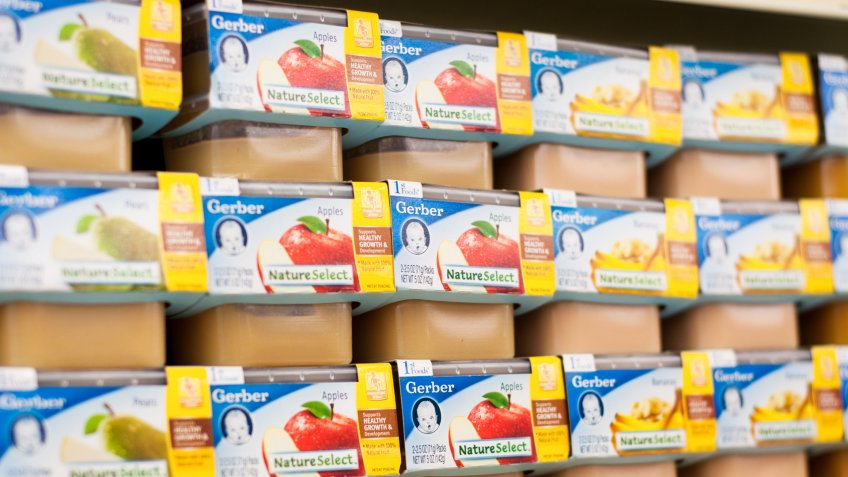 Tuscaloosa, Alabama, USA - December 21, 2010: Gerber baby food selections in a grocery store.