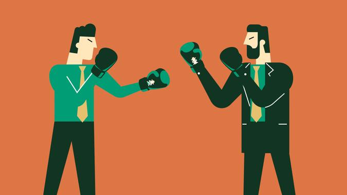 Boxing gloves fighting.