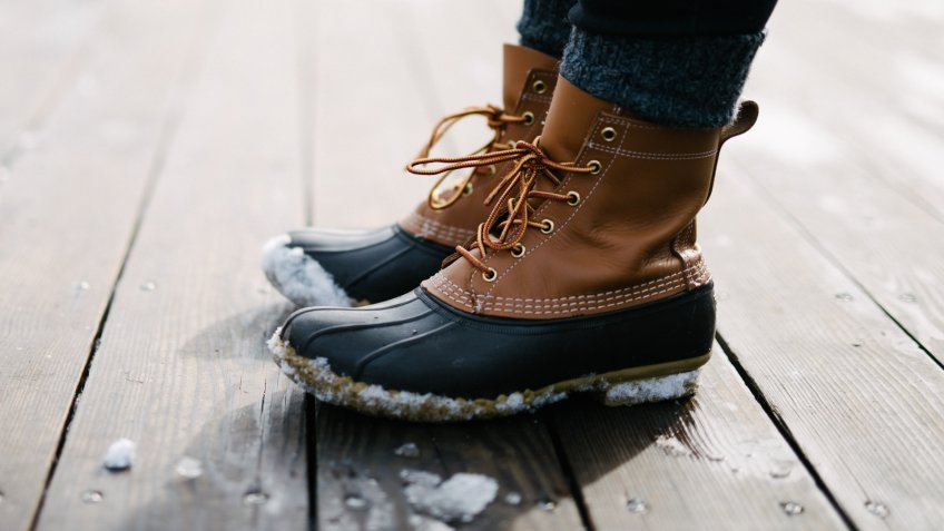LL Bean boots in winter