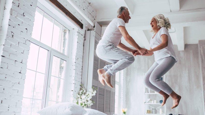 Love lives forever! Senior couple at home.