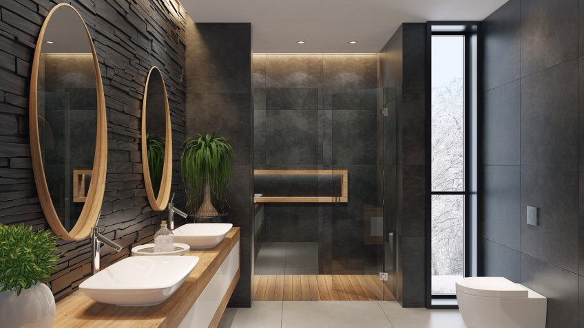 contemporary minimalist bathroom with two round mirrors and wooden frame.