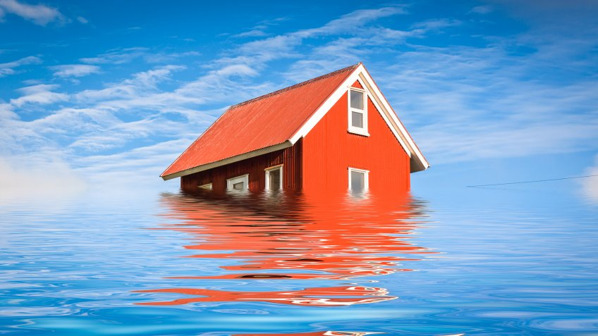 Bright Red Siding House in water flood.