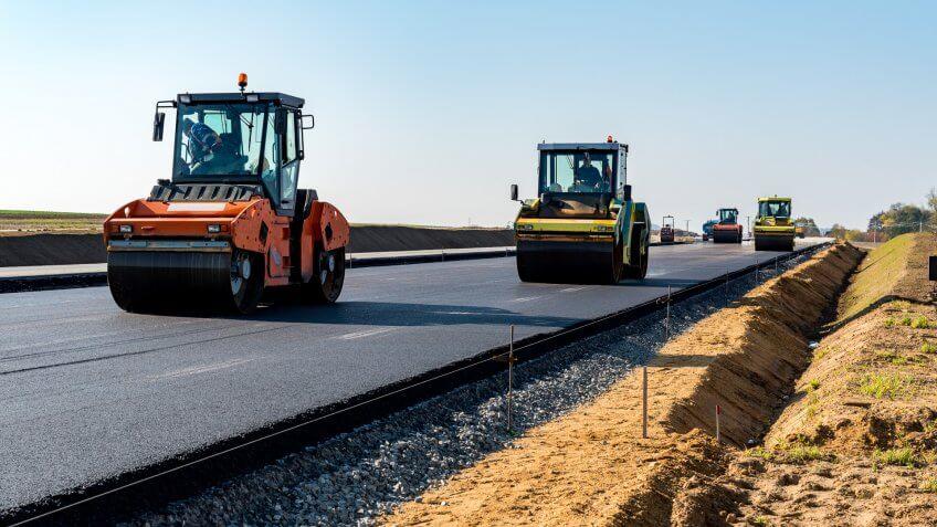 Road rollers building the new asphalt road.