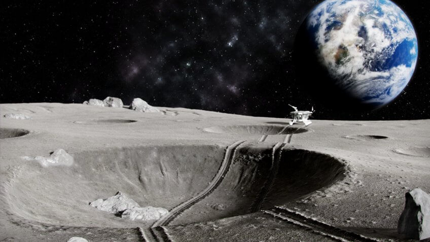 Traces of the moon rover through a crater on the Moon, the planet earth in the background, 3D render.
