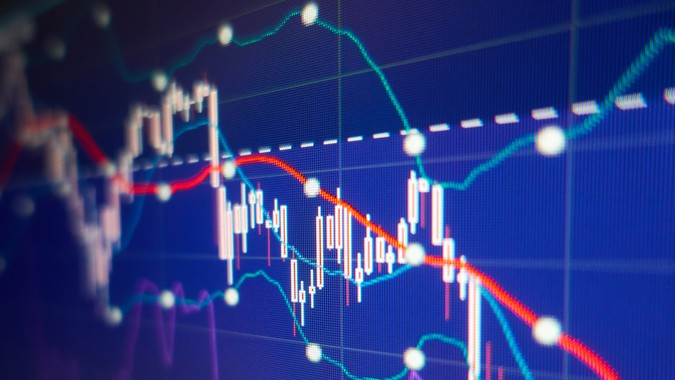 Economic crisis - Stock market graphs and charts - Financial and business background.