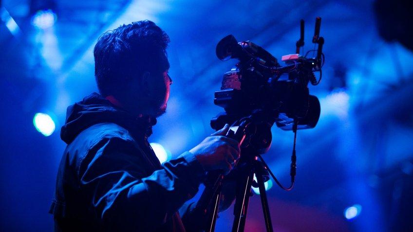 Camera operator translating live concert on music festival in Kaliningrad.