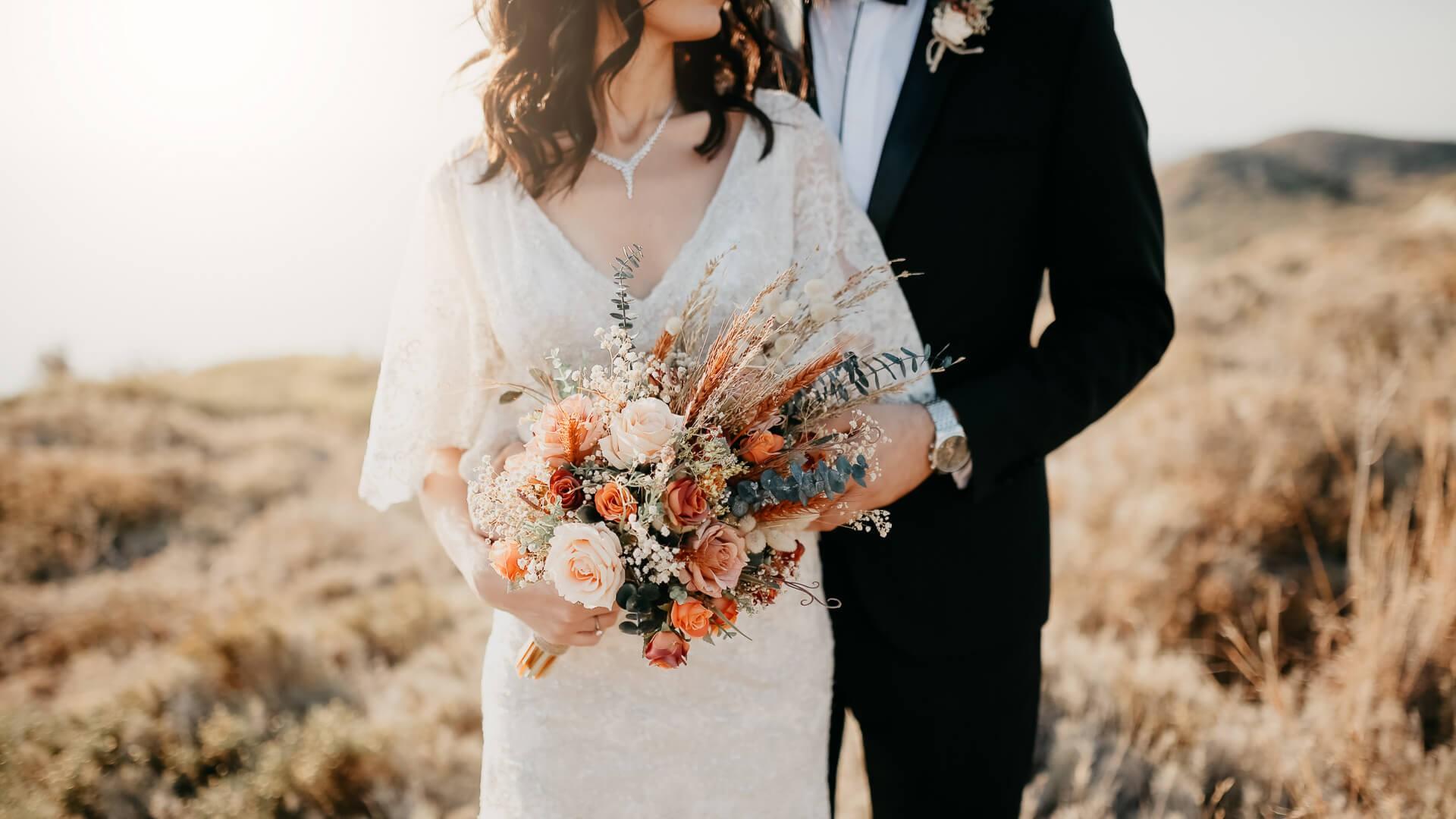 Rustic wedding bouquet.