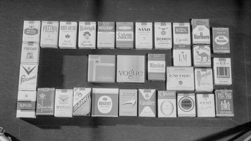 Packs of cigarettes.