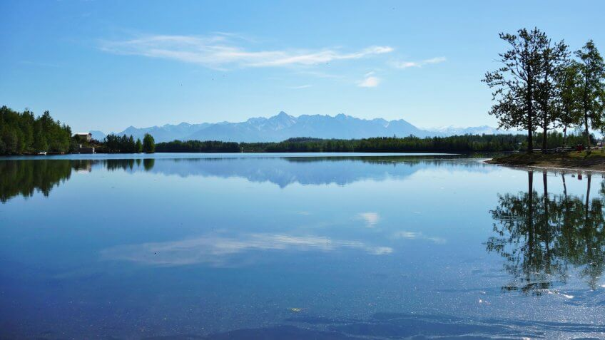 WASILLA, ALASKA -23 MAY 2015- Located on the Wasilla lake, Wasilla is the sixth largest city in Alaska and part of the Anchorage metropolitan area.
