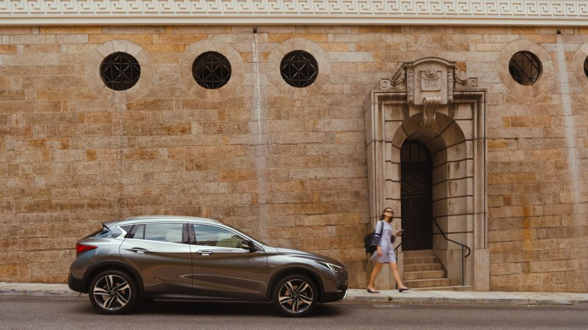 The INFINITI QX30 offers category-defying design inside and out, with a purposeful appearance that makes a bold visual statement as part of INFINITI's premium model lineup.