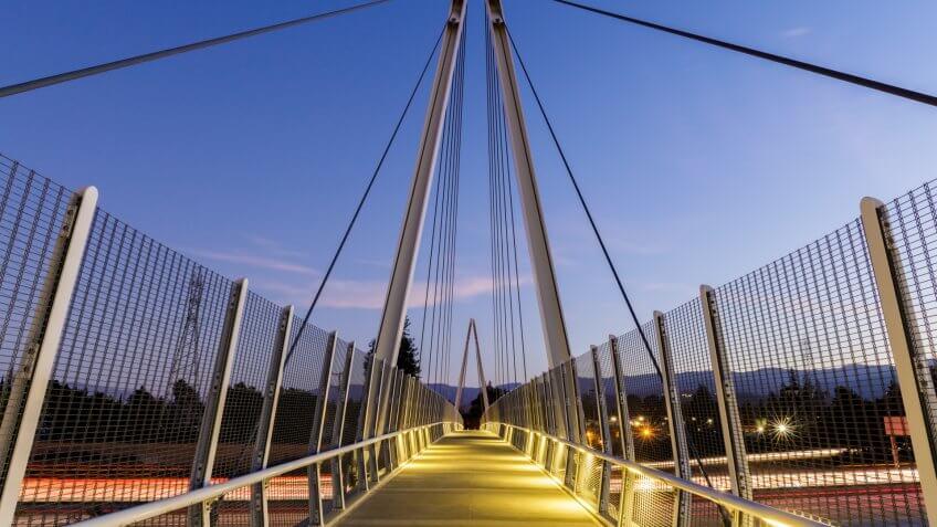 Dusk over Don Burnett Bicycle-Pedestrian Bridge (aka Mary Avenue Bicycle Footbridge).