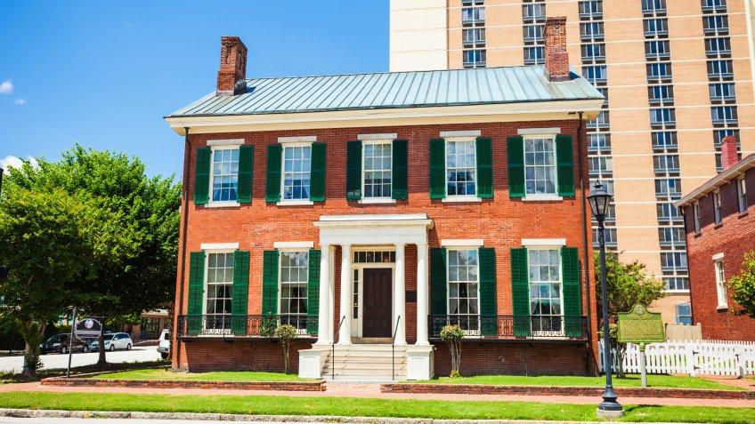 Augusta, Georgia, USA - May 6, 2016:  The boyhood home of Woodrow Wilson in downtown Augusta, Georgia on a sunny day.