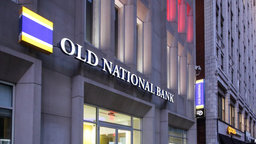 Old National Bank financial institute located downtown at Monument Circle - Indianapolis, Indiana, USA - July 24, 2019 - Image.