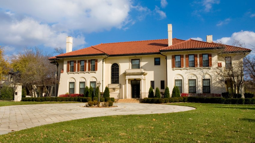 Spanish Architecture Mansion in Midwest, Luxury Home.