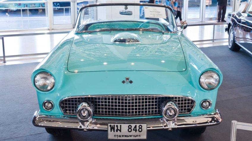 BANGKOK-DEC 01: Classic car Ford Thunderbird made in USA, year 1955 Display at Thailand International Motor Expo 2011 December 01 - Bangkok, Thailand - Image.