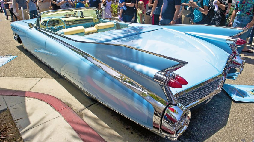 BEVERLY HILLS/CALIFORNIA - JUNE 15, 2014: 1959 Cadillac El Dorado Biarritz Convertible owned by John D'Agostino at the Rodeo Drive Concours D'Elegance on June 15, 2014 Beverly Hills, California, USA - Image.