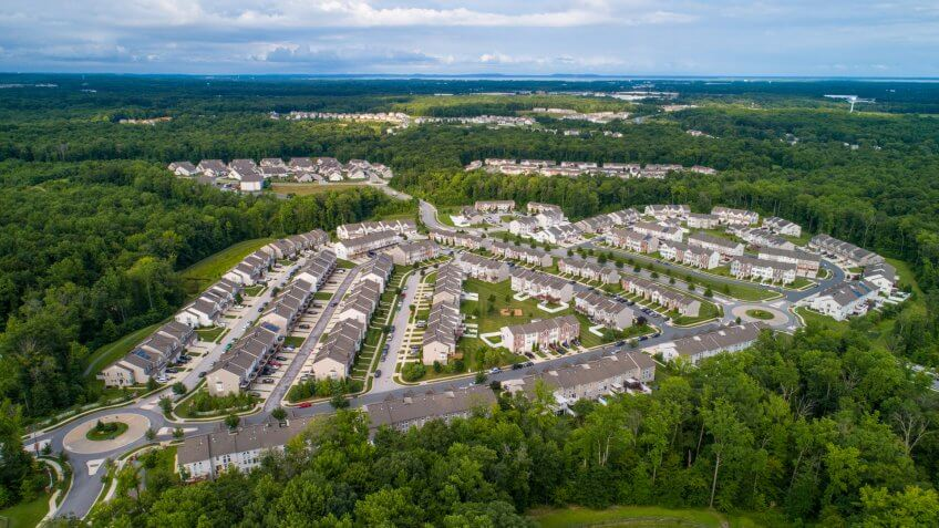 Aerial drone image of a residential development in Aberdeen Maryland USA - Image.