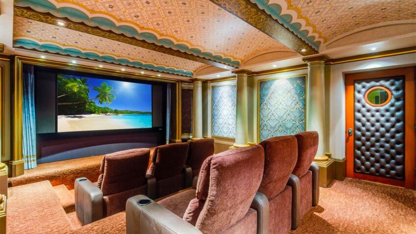 Spanish Revival in Palos Verdes Estates, California in-home movie theater