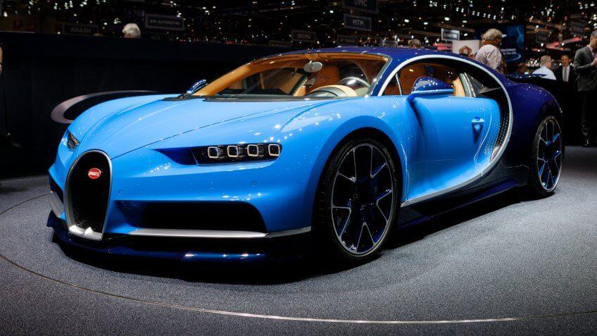 GENEVA, SWITZERLAND - MARCH 1: Geneva Motor Show on March 1, 2016 in Geneva, Bugatti Chiron, front-side view - Image.