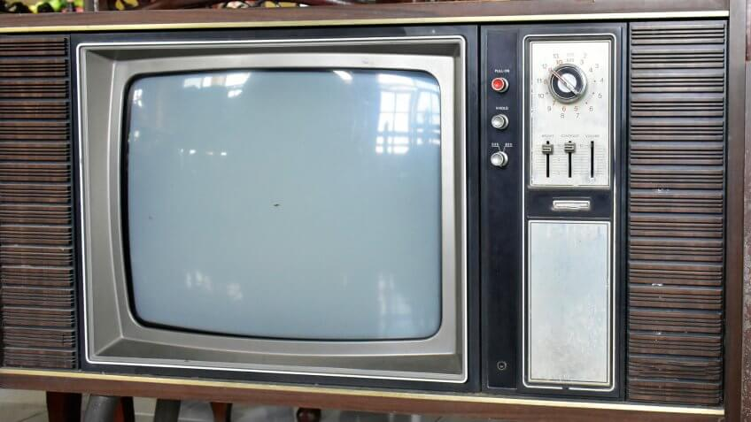 The old antique TV is a black and white image that has been very popular in the past.
