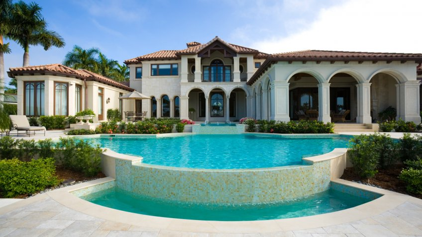 Beautiful, Building Exterior, Built Structure, Column, Estate Home, Florida, Florida Lifestyle, Flower, HOUSE, Lifestyles, Naples - Florida, Naples Florida, Ornate, Outdoors, Palm Tree, Residential Structure, Suburb, Tile, Tiled Floor, Tree, Waterfront, Wealth, door, luxury, mansion, nobody, real estate, real estate agent, residental, swimming pool, window