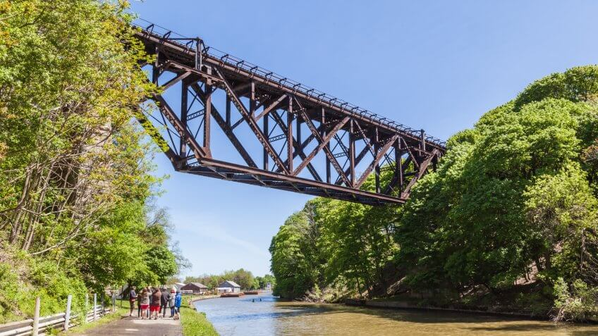 LOCKPORT, NEW YORK, USA- MAY 20, 2017: Lockport Railroad Bridge (Upside-Down Bridge), This bridge is a multi-span railroad bridge built in 1902 in Lockport, New York, USA.