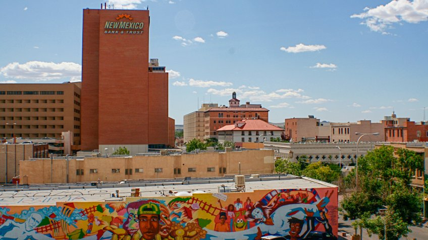 View of downtown Albuquerque and New Mexico Bank & Trust.