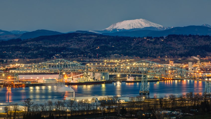 Twilight view of the Lewis & Clark bridge connecting Longview, WA with Rainier, OR.