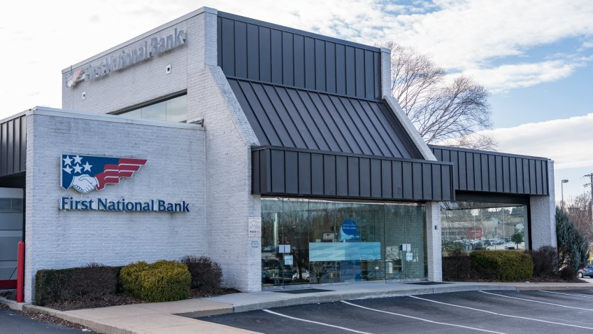 York, PA, USA - January 26, 2019: A First National Bank Branch Office, which is a subsidiary of F.