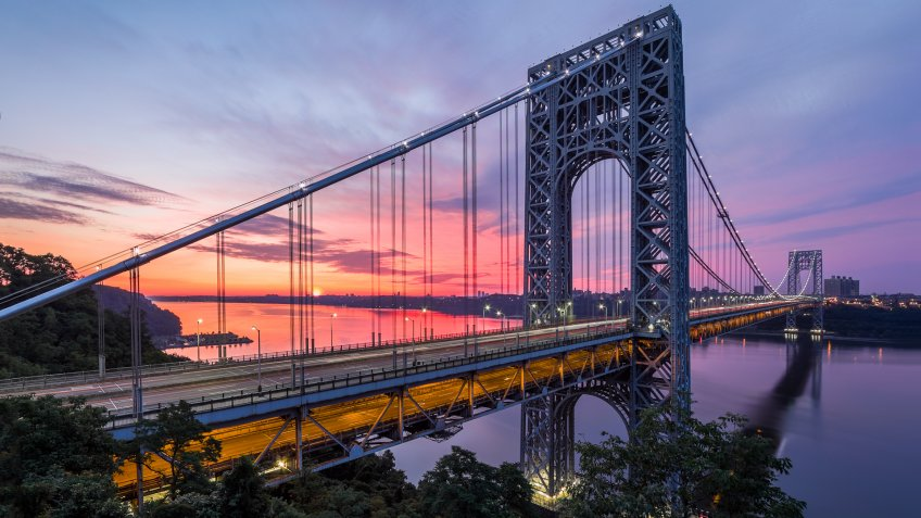 FORT LEE, NJ - JUNE 30: George Washington Bridge at sunrise on June 30, 2012 in Fort Lee, NJ.