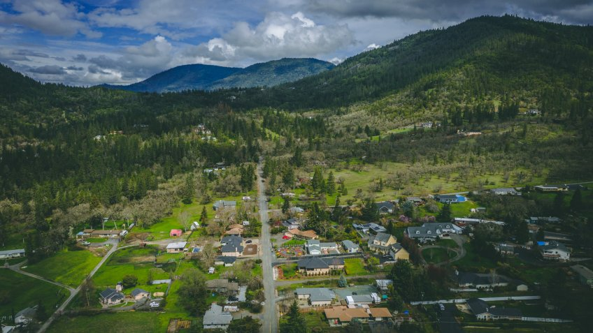 Aerial drone photo of Grants Pass, Southern Oregon, USA, and highway 5 traffic - Image.
