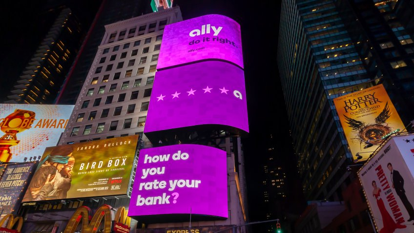 New York, NY/USA-December 18, 2018 An electronic billboard in Times Square in New York advertises the services of the Ally Bank, an online banking institution.