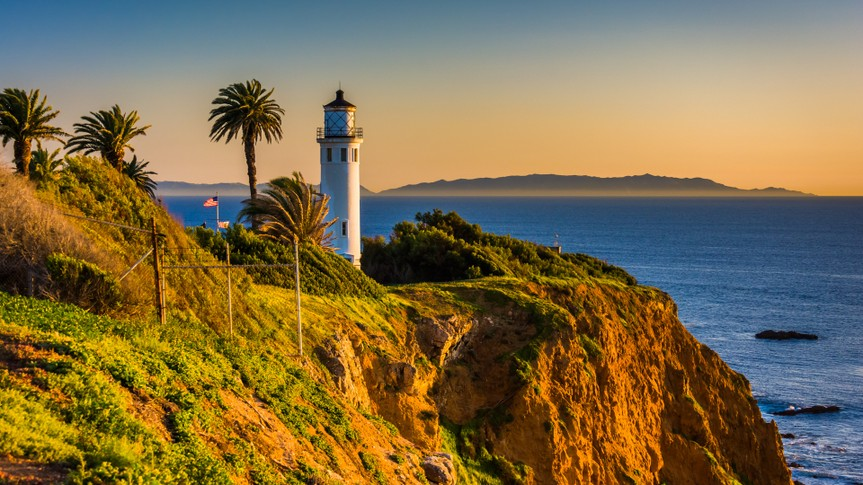 View of Point Vicente Lighthouse at sunset, in Ranchos Palos Verdes, California.
