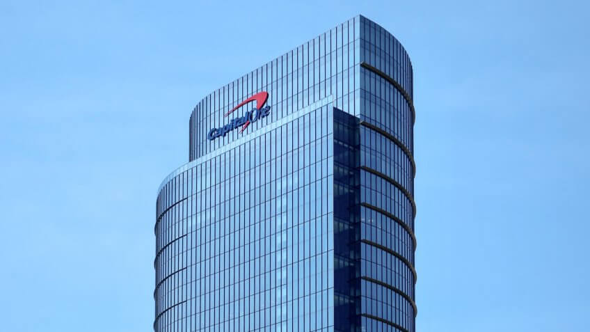MCLEAN, VA - JUNE 23, 2019: CAPITAL ONE sign on headquarters building - Image.