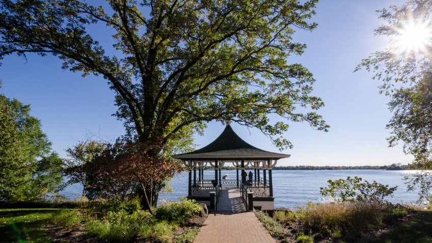 Beautiful view of a gazebo patio deck in the fall along Minnesota Lake Minnetonka in the Twin Cities.