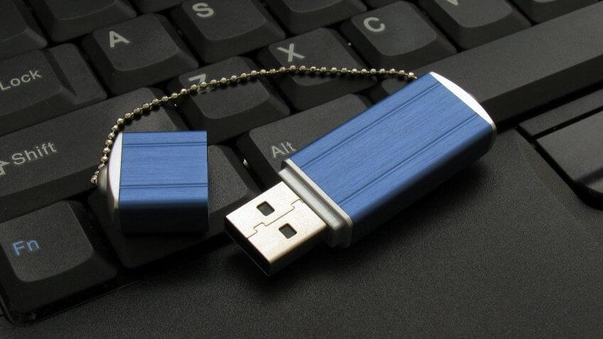 USB memory device / stick / drive on keyboard.