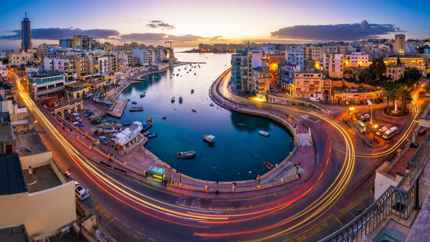 Aerial View on Saint Julien and Spinola Bay at Dawn, Malta - Image.